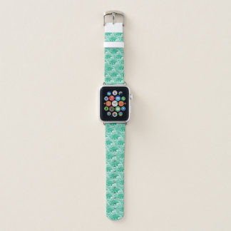 Vintage Japanese Waves, Jade Green and White Apple Watch Band