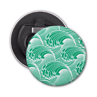 Vintage Japanese Waves, Jade Green and White Bottle Opener