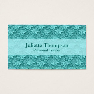 Vintage Japanese Waves, Turquoise and Aqua Business Card
