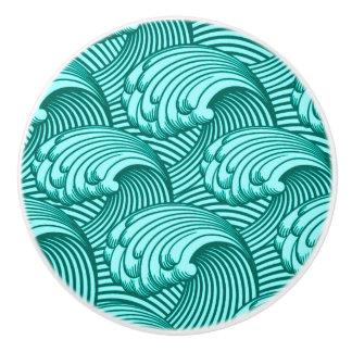 Vintage Japanese Waves, Turquoise and Aqua Ceramic Knob