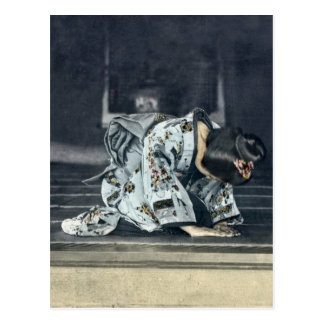 Vintage Japanese Woman Bowing Dogeza Postcard