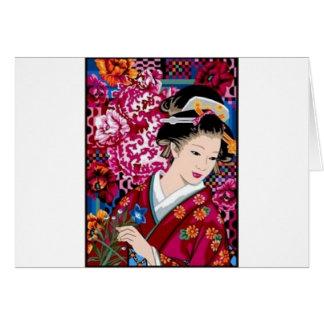 Vintage Japanese Woman in Kimono Card