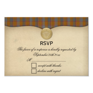 Vintage Jardine Clan Tartan Plaid Wedding RSVP Card