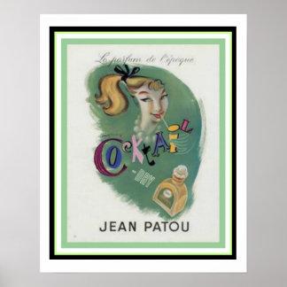 """Vintage Jean Patou """"Cocktail"""" Poster 16 x 20"""