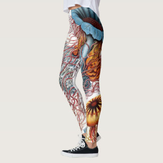 Vintage Jellyfish by Ernst Haeckel, Discomedusae Leggings