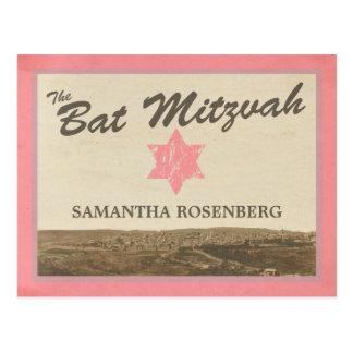Vintage Jerusalem Bat Mitzvah Save The Date Pink Postcard