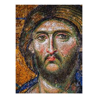 Vintage Jesus Christ Portrait Medieval Mosaic Photo Print