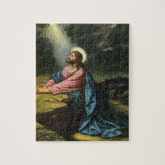 Vintage Jesus Christ Praying in Gethsemane Jigsaw Puzzle