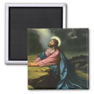 Vintage Jesus Christ Praying in Gethsemane Square Magnet