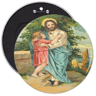 Vintage Jesus Holding Little Boy Pinback Button