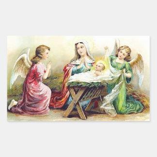 Vintage Jesus With Angels Rectangular Sticker