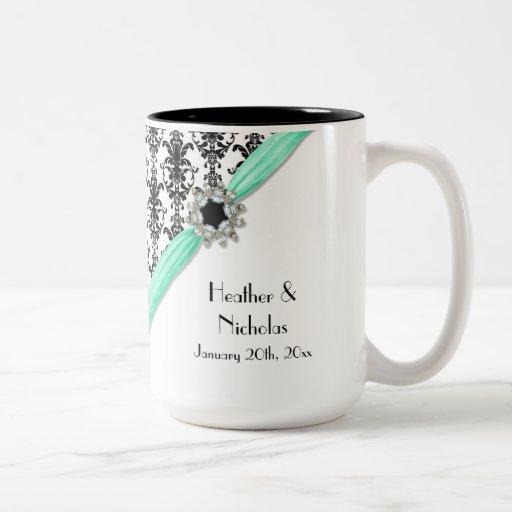 Vintage Jewel Buckle Black White Damask Ribbon Coffee Mug