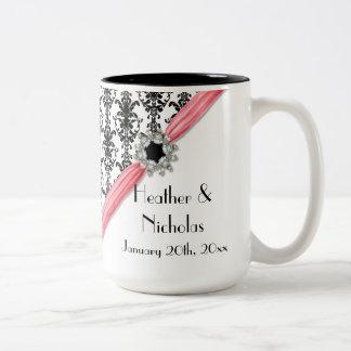Vintage Jewel Buckle Black White Damask Ribbon Two-Tone Mug