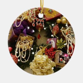Vintage Jewelry & Gemstone Victorian Wreath Round Ceramic Decoration