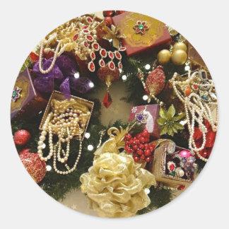 Vintage Jewelry & Gemstone Victorian Wreath Round Sticker
