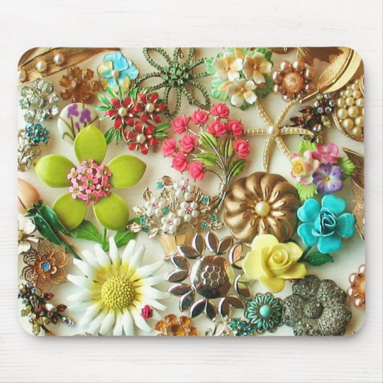 Vintage Jewels Floral Mousepad