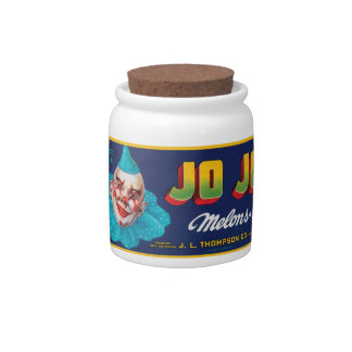 Vintage JO JO Melons Crate Label Candy Jar
