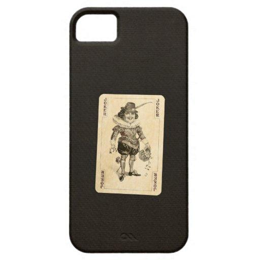 Vintage Joker Playing Card on Black Burlap Like iPhone 5 Cover