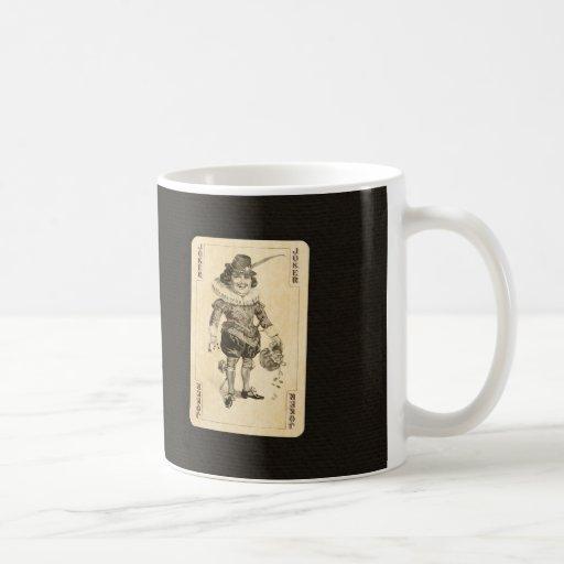 Vintage Joker Playing Card on Black Burlap Like Coffee Mug