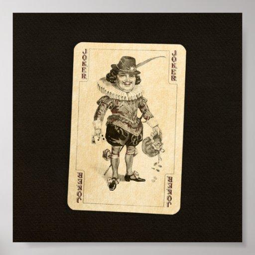 Vintage Joker Playing Card on Black Burlap Like Poster