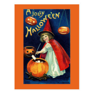 Vintage Jolly Halloween Girl Witch Postcard