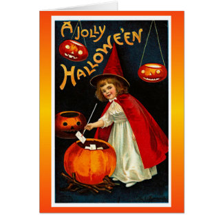 Vintage Jolly Halloween Red Witch Greeting Card