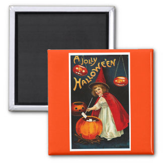 Vintage Jolly Halloween Red Witch Refrigerator Magnets