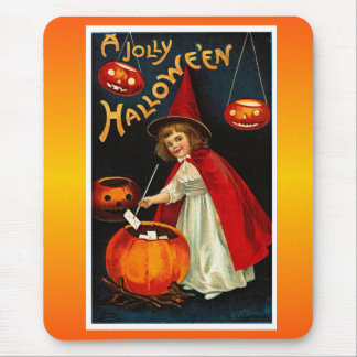 Vintage Jolly Halloween Red Witch Mouse Pad