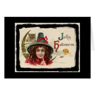 Vintage Jolly Halloween Witch Card
