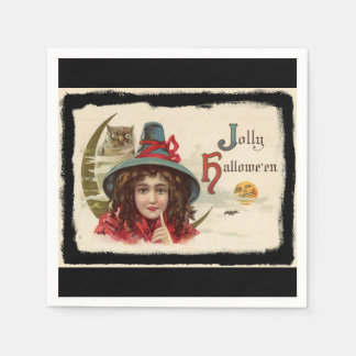 Vintage Jolly Halloween Witch Disposable Serviette