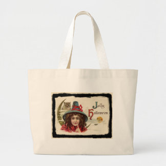 Vintage Jolly Halloween Witch Large Tote Bag