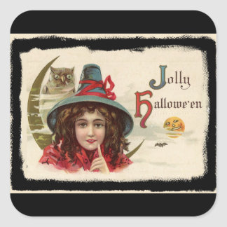 Vintage Jolly Halloween Witch Square Sticker