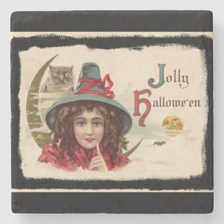 Vintage Jolly Halloween Witch Stone Coaster