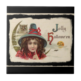 Vintage Jolly Halloween Witch Tile