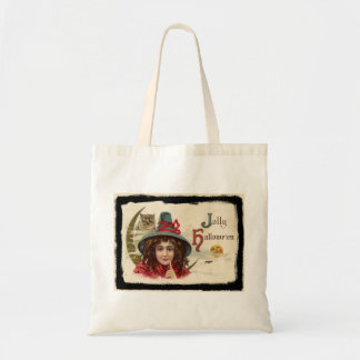 Vintage Jolly Halloween Witch Tote Bag