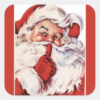 Vintage Jolly Old Santa Shhh Red Square Sticker