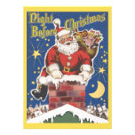 Vintage Jolly Santa Claus Christmas Party Personalized Announcement