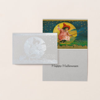 Vintage Jolly Witch Happy Halloween Greeting Card