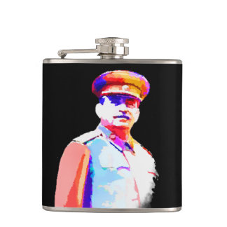 Vintage Joseph Stalin WW2 Russia Dictator Colorful Hip Flask