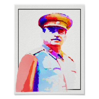 Vintage Joseph Stalin WW2 Russia Dictator Colorful Poster