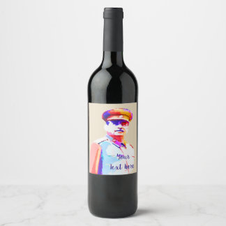 Vintage Joseph Stalin WW2 Russia Dictator Colorful Wine Label
