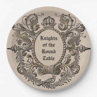 Vintage Jousting Knights Paper Plates Personalised 9 Inch Paper Plate