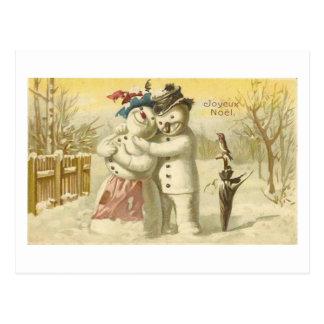 Vintage Joyeux Noel Snowman & Woman Card Postcard