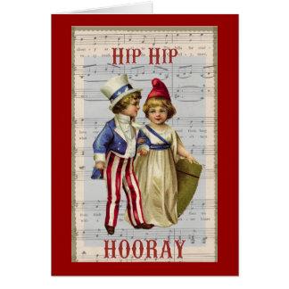 """Vintage July 4th """"Hip Hop Hooray"""" Children Card"""