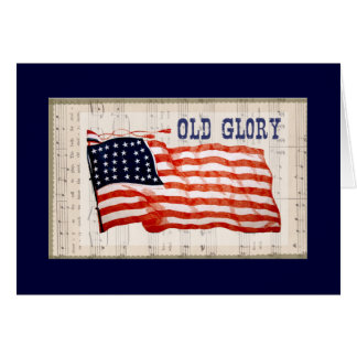 "Vintage July 4th ""Old Glory"" Faded Flag Card"