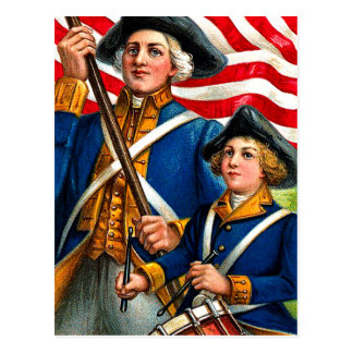 Vintage July Fourth American Revolution Postcard