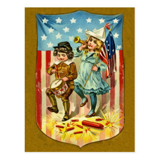 Vintage July Fourth Postcard Invitation