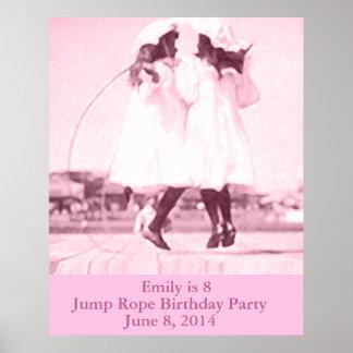 Vintage Jump Rope Pink Kids Birthday Party Poster