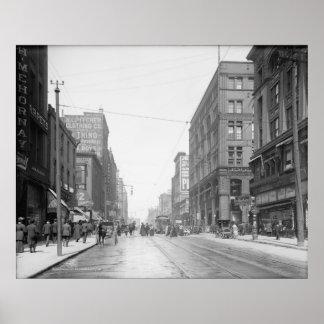 Vintage Kansas City Walnut Street Poster