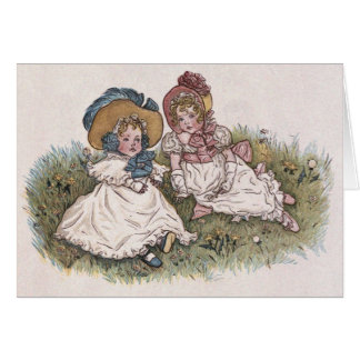 Vintage Kate Greenaway 2 little girls Card